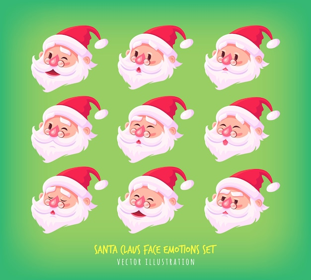 Set van santa claus gezicht emoties iconen cute cartoon gezichten collectie merry christmas illustratie.