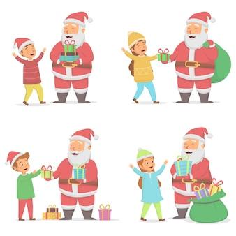 Set van santa claus kerst geschenkdoos geven aan kinderen illustratie