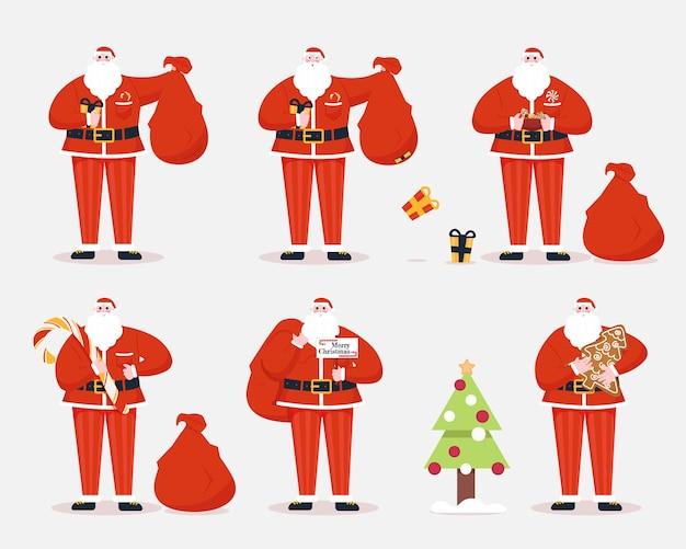 Set van santa claus-nieuwjaar happy santa met zak geschenken