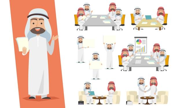 Set van saoedische zakenman. arabische man characterdesign met de vergadering, transacties en advertentiesituatie op een witte achtergrond.
