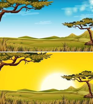 Set van savanna landschap