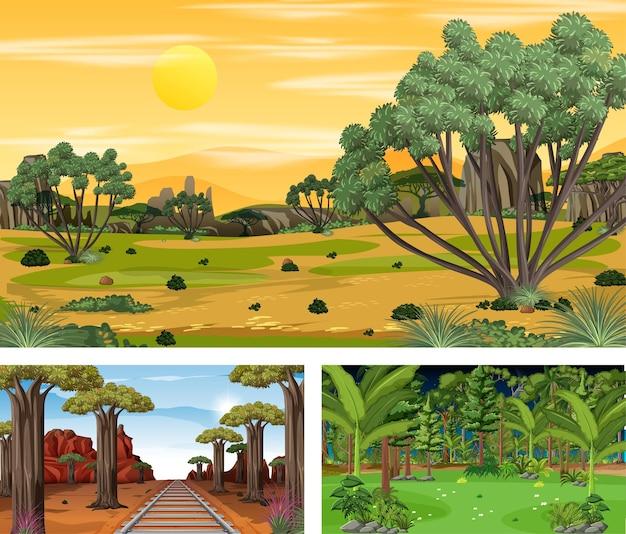 Set van savannebos in verschillende tijden horizontale scènes