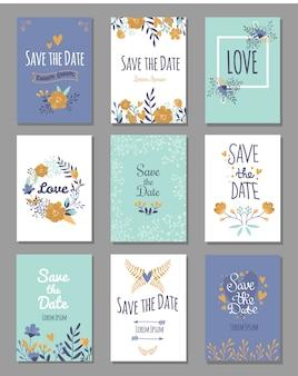 Set van save the date-kaarten, romantische liefdesthema