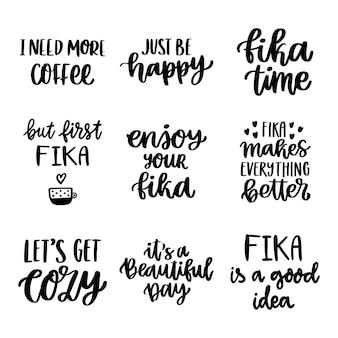 Set van scandinavische belettering zinnen over koffiepauze fika zweedse traditie