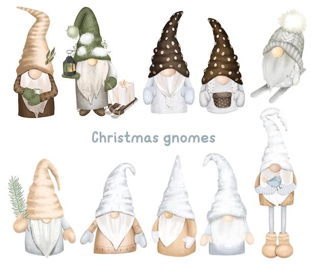 Set van scandinavische boskabouters kerst winterkabouters clipart