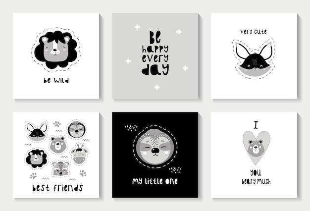 Set van scandinavische kaarten met schattige dieren