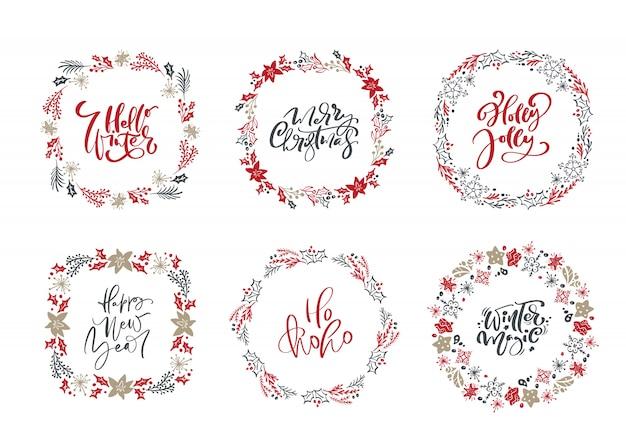 Set van scandinavische kerstkransen en kalligrafische vakantie vintage teksten