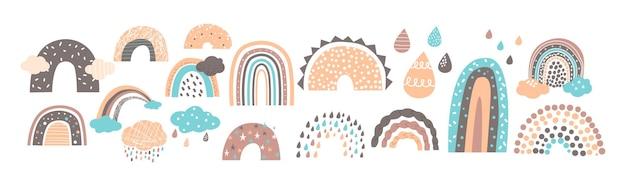Set van scandinavische regenbogen in schattige babystijl, eenvoudig ontwerp voor behang, kledingprint of patroon. grappige pastelkleurige regendruppels en wolken geïsoleerd op wit. cartoon vectorillustratie, pictogrammen