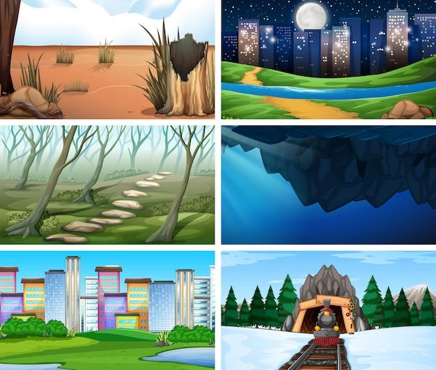 Set van scènes in de natuur instelling