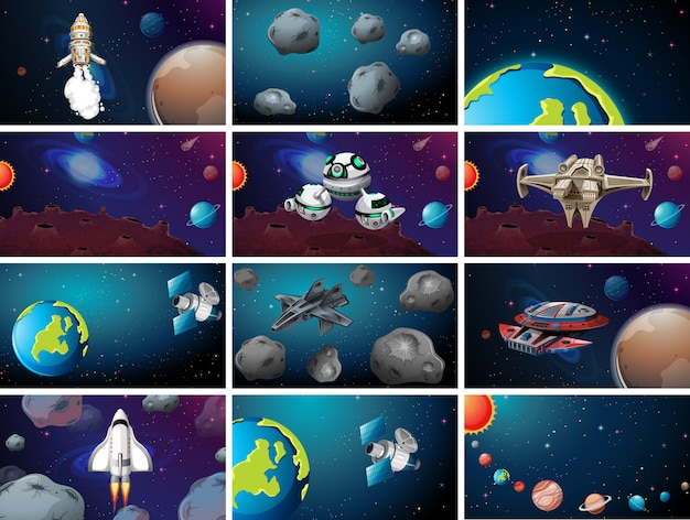 Set van scènes met een groot ruimtethema
