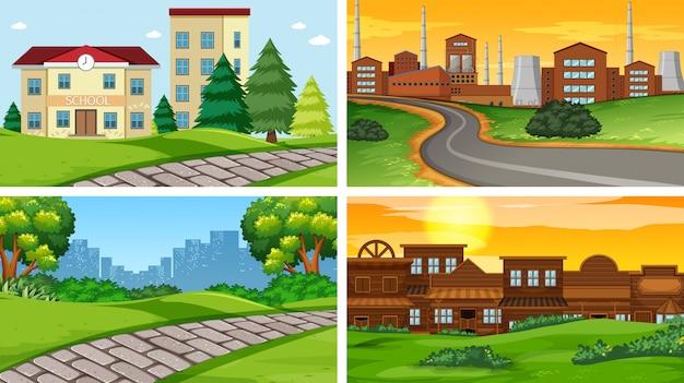 Set van scènes of achtergrond in de natuur instelling