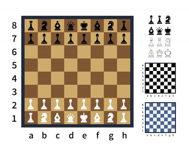 Set van schaakpictogrammen en verschillende schaakborden op wit