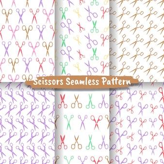 Set van schaar naadloos patroon, naadloos patroon met verschillende schaar Premium Vector