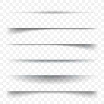 Set van schaduwen op een abstracte achtergrond. papier vel schaduweffect.