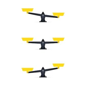 Set van schalen. schalen pictogram. uilen van schalen in balans, een onbalans van schalen. weegschaal geïsoleerd op een witte achtergrond. vector illustratie