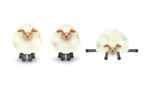 Set van schapen stripfiguur op witte achtergrond.