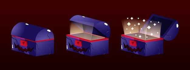 Set van schatkistdoos met halloween-thema voor game ui asset-elementen