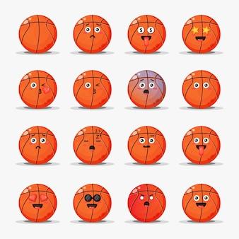 Set van schattig basketbal met emoticons