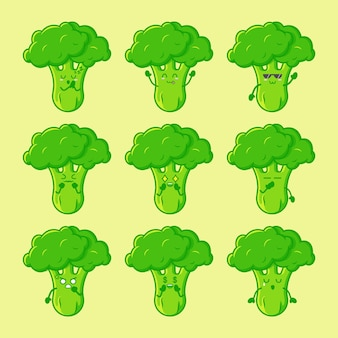 Set van schattig broccoli karakter geïsoleerd premium vector