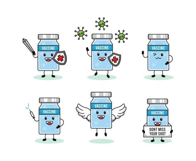 Set van schattig coronavirus vaccin mascotte ontwerp
