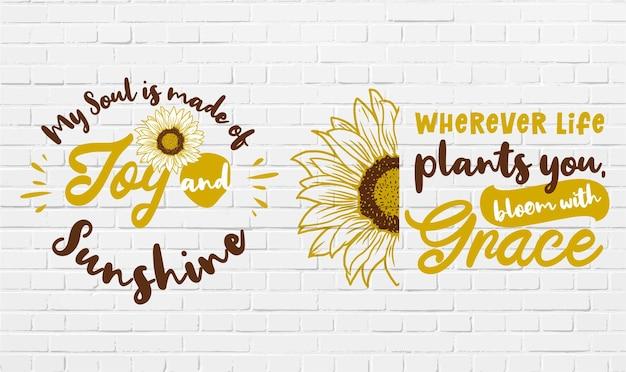 Set van schattig en geweldig zonnebloem citaat & motivatie ontwerp