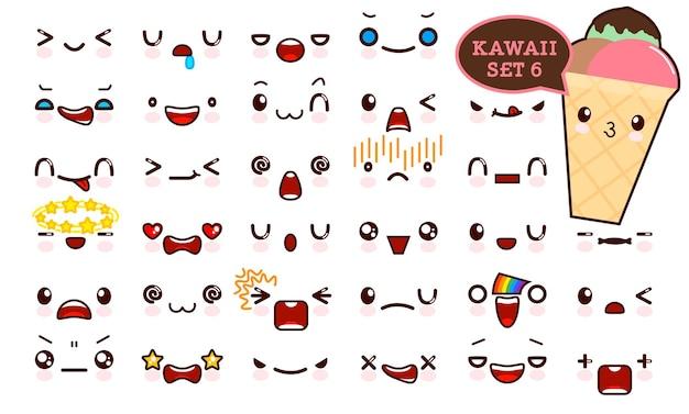 Set van schattig kawaii emoticon gezicht en zoet ijs kawaii