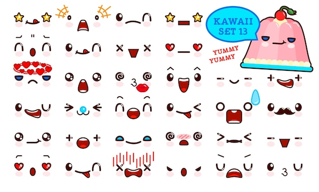 Set van schattig kawaii emoticon gezicht en zoete gelei kawaii