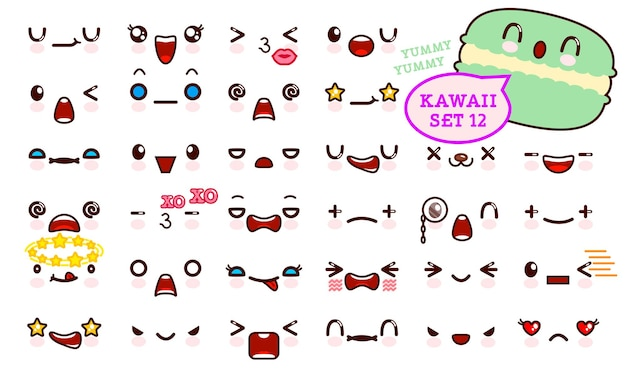 Set van schattig kawaii emoticon gezicht en zoete macaron kawaii