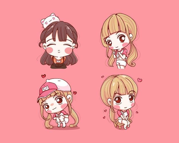 Set van schattig meisje blij en glimlach geïsoleerd op roze
