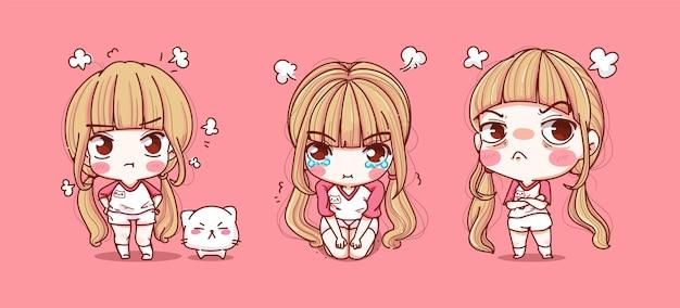 Set van schattig meisje en boos emotie geïsoleerd roze
