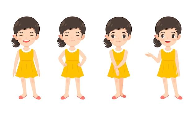 Set van schattig meisje in gele jurk