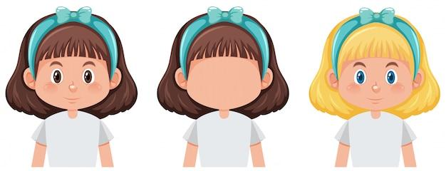 Set van schattig meisje karakter