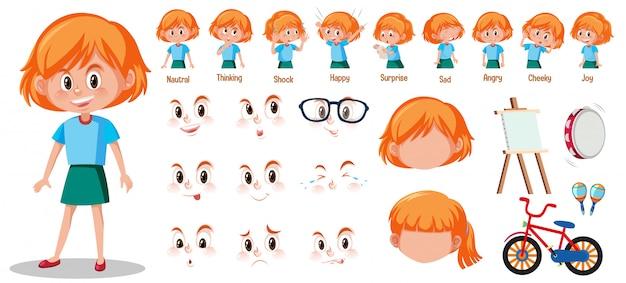 Set van schattig meisje met verschillende uitdrukkingen op haar gezicht