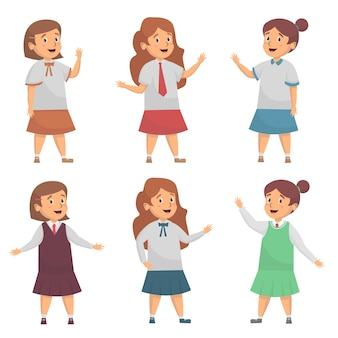 Set van schattig meisje schooluniform illustratie