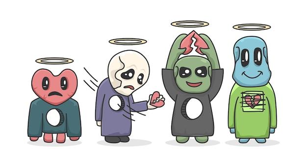 Set van schattig monster karakter cartoon afbeelding ontwerp