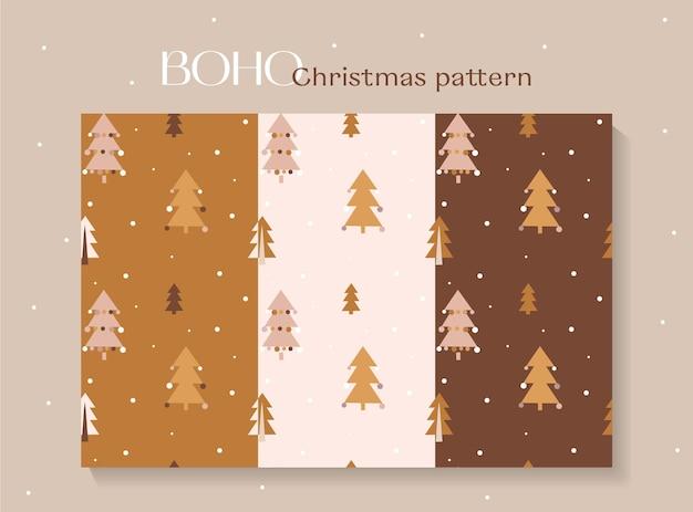 Set van schattig naadloos kerstpatroon in boho-stijl