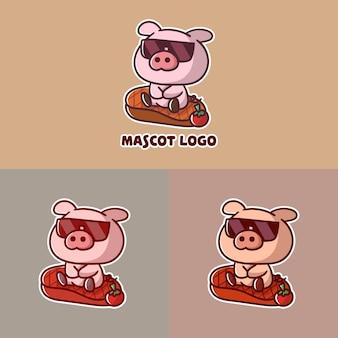 Set van schattig steak-varkensvlees-mascotte-logo met optionele uitstraling.