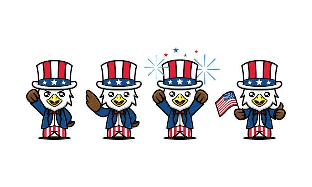 Set van schattige 4 juli onafhankelijkheidsdag mascotte ontwerp pictogram illustratie vector sjabloon