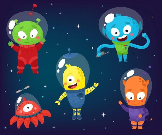 Set van schattige aliens. illustratie in cartoon-stijl.