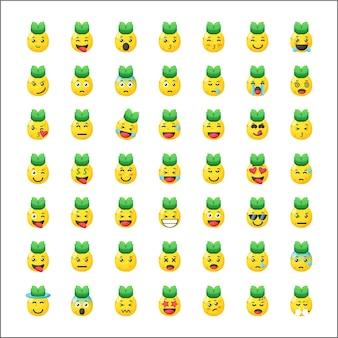 Set van schattige ananas emoticon