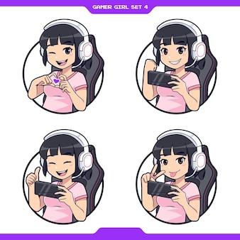 Set van schattige anime gamer meisje mascotte cartoon geschikt voor gaming of streamer logo