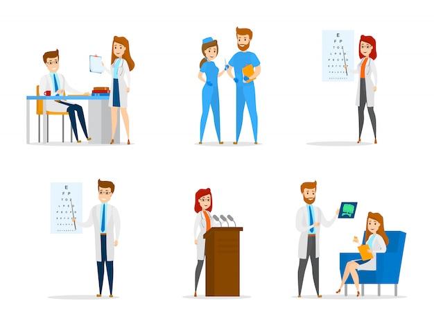 Set van schattige arts en verpleegkundige personages met verschillende poses, gezicht emoties en gebaren. geneeskundemedewerkers praten met elkaar en doen onderzoeken en onderzoeken. illustratie