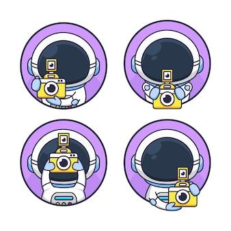 Set van schattige astronaut fotografie camera houden
