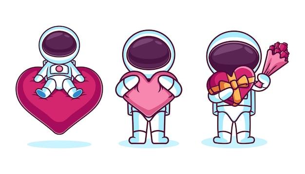 Set van schattige astronaut karakter met hart pictogram
