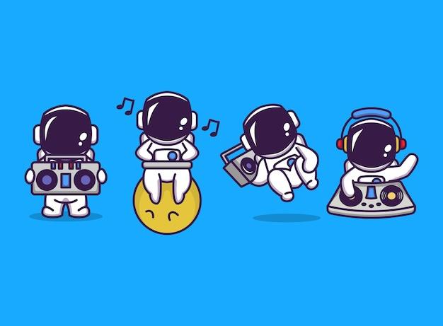 Set van schattige astronaut met disco feestmuziek