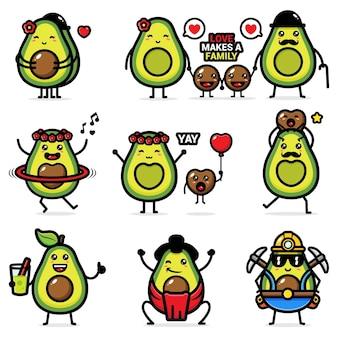 Set van schattige avocado