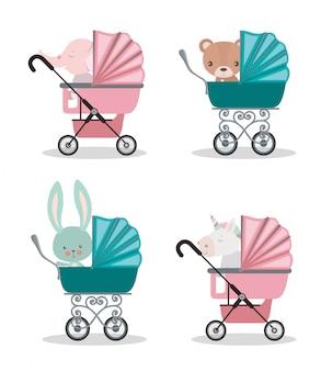 Set van schattige baby dieren in kinderwagens ontwerp, kind pasgeboren kindertijd onschuld en weinig thema vectorillustratie
