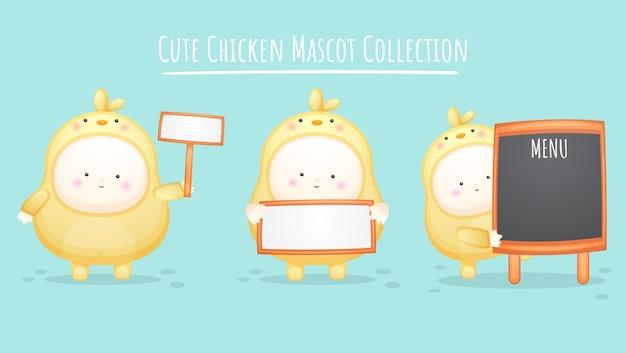 Set van schattige baby in kuikens kostuum. mascotte cartoon afbeelding premium vector