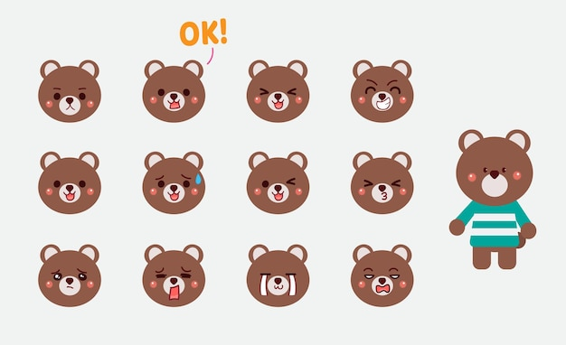 Set van schattige beer gezichtsuitdrukkingen hand getekende cartoon kunst illustratie