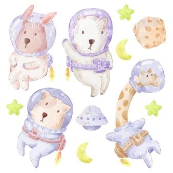 Set van schattige beer, konijn, giraf, hond. verschillende van beer, konijn, giraf, hondengebaar en kleur